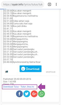 Download lirik lagu untuk menambahkan di pemutar musik