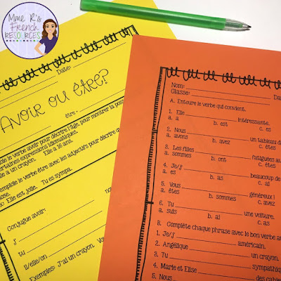 Present tense avoir and être worksheet to help students differentiate between these French verbs.