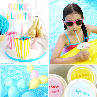 Summer Pool Party Ideas & Coke Float Station