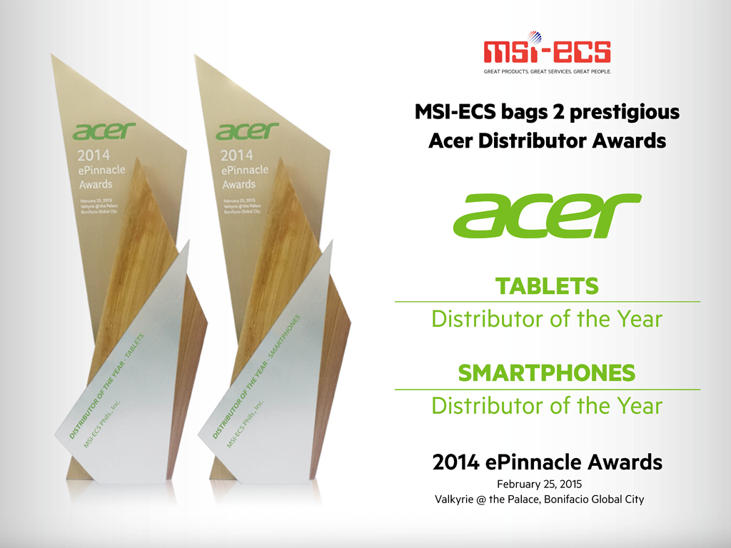 Congratulations To MSI-ECS for Bagging Two Prestigious Acer Distributor Awards!