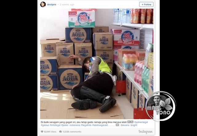 Bripda Devi Putrining Asih, Polwan Cantik Yang Tertidur di Lantai Minimarket Beralaskan Kardus.