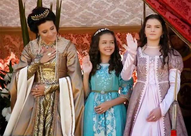 Rainha vitoriana e filhas Elizabeta e Carmela crianças