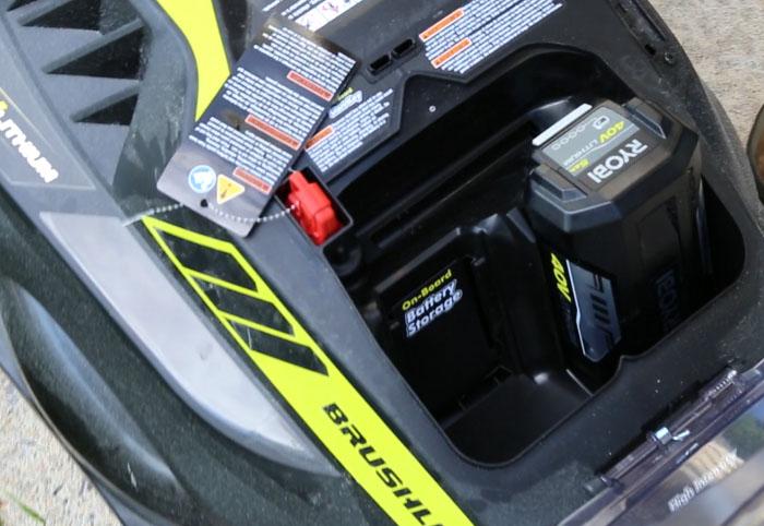 Ryobi mower battery compartment