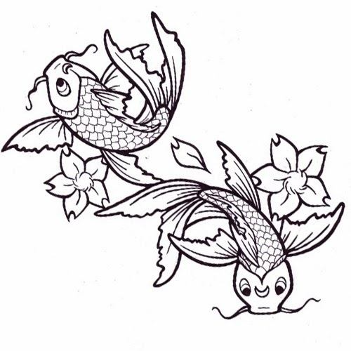 Koi fishes and flowers tattoo stencil