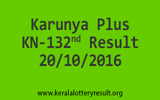Karunya Plus KN 132 Lottery Results 20-10-2016