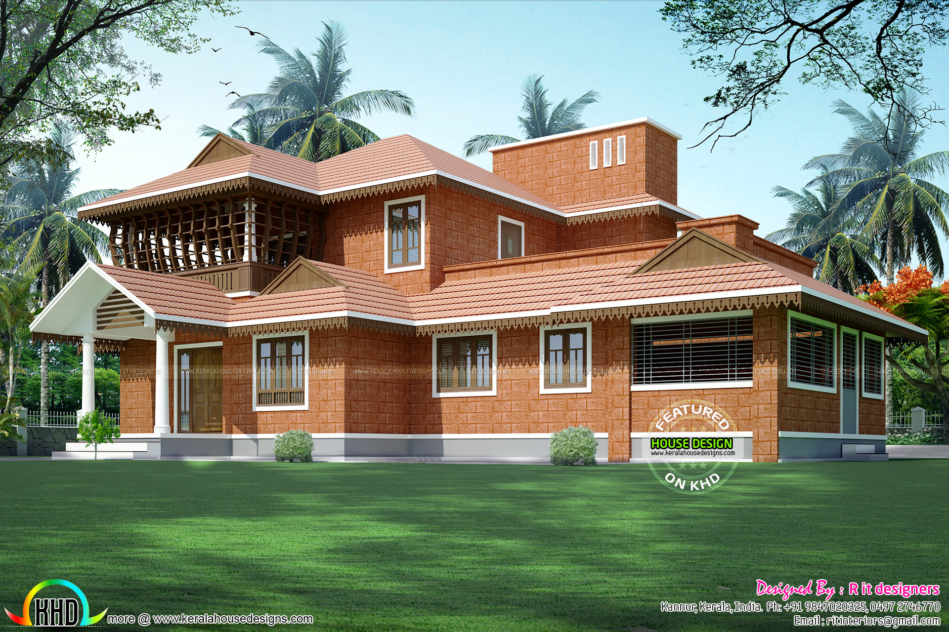 Traditional stone constriction with laterite stone for Traditional home designs