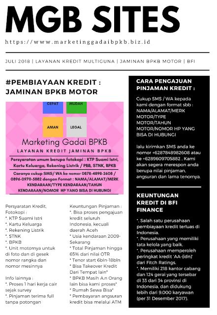 Informasi pembiayaan kredit multiguna dengan jaminan bpkb motor di bfi finance daerah jawa barat