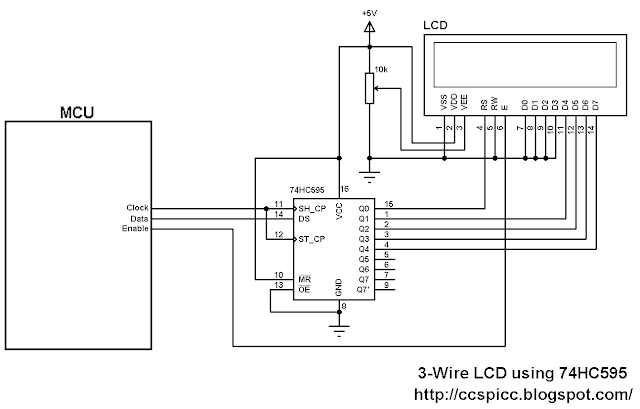 3-Wire LCD display circuit using 74HC595 shift register
