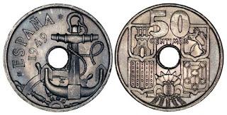 Moneda de 50 céntimos de 1949 con las flechas hacia arriba