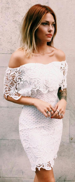 Off Shoulder white laces boho Dress