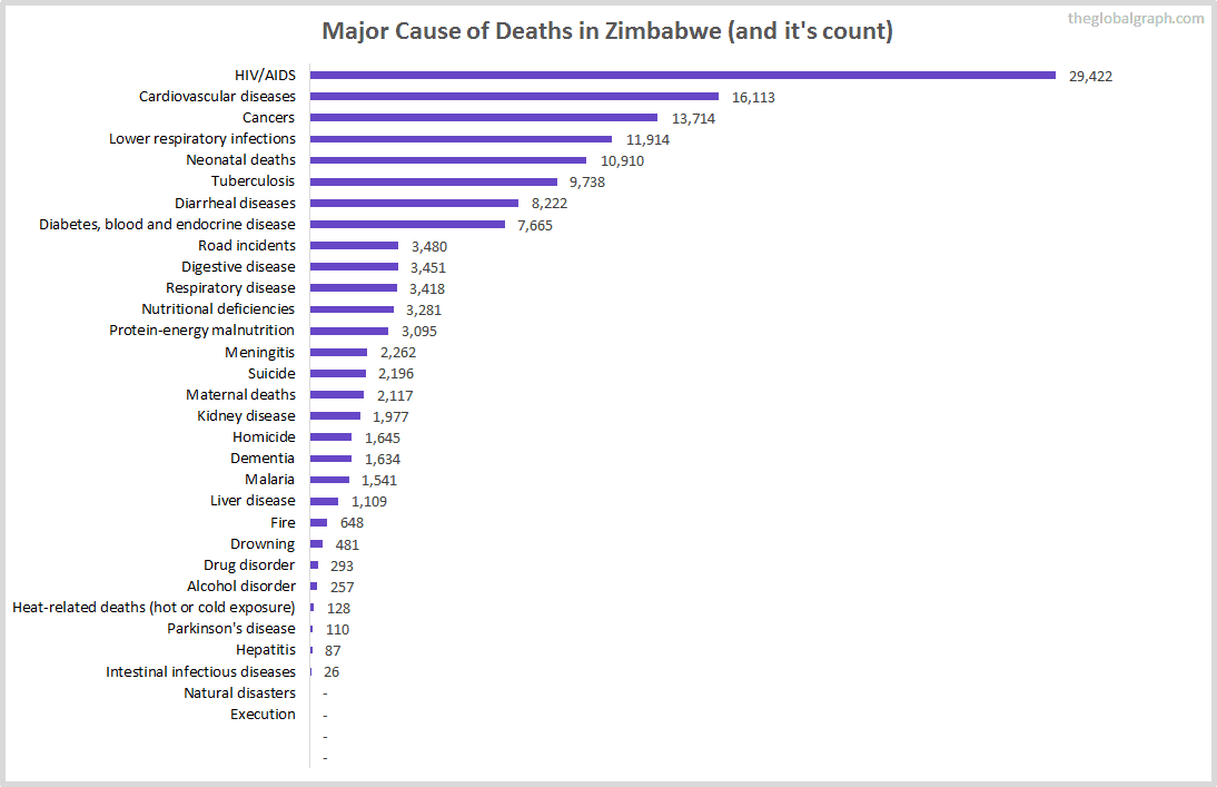 Major Cause of Deaths in Zimbabwe (and it's count)