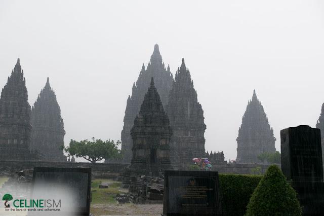 raining in prambanan temple
