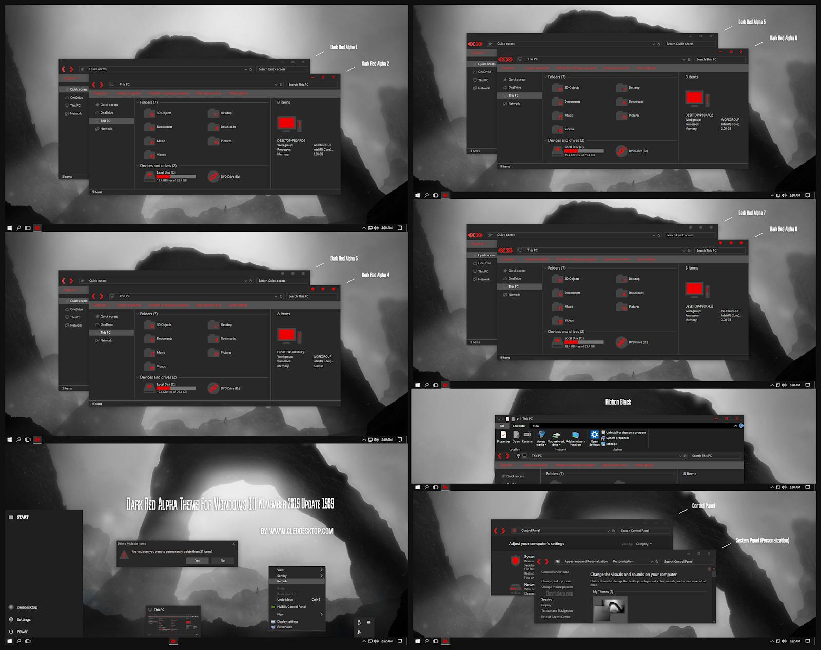 Dark Red Alpha Theme Windows10 November 2019 Update 1909