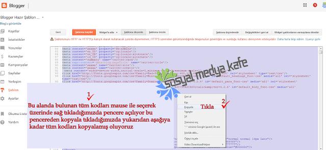 Blogger Şablon Kodlarımı Kopyalama