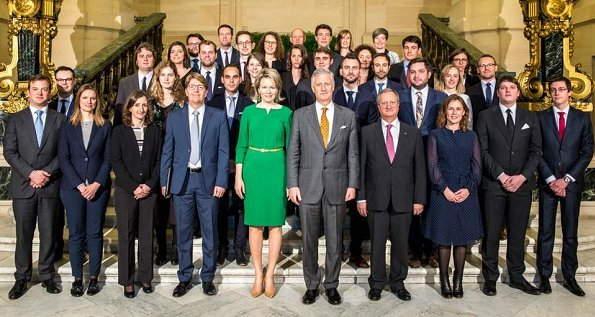 Queen Mathilde wore a lovely Natan green dress for diplomat trainees meeting
