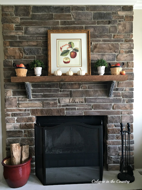 Stone Fireplace Decorated for Fall