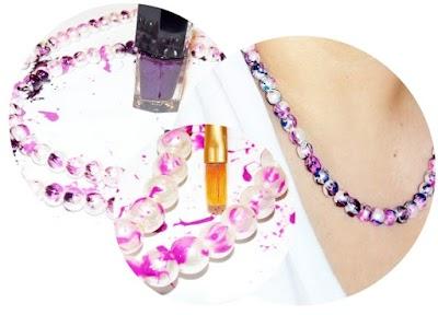 Collar o Pulsera de perlas con salpicaduras de esmalte