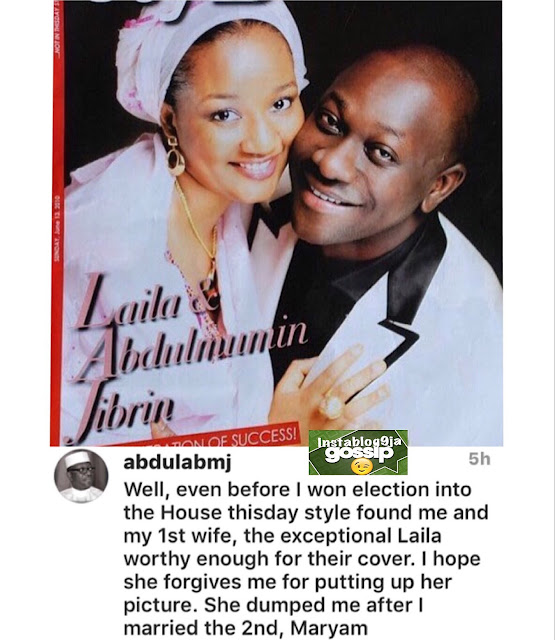 Hon. Jibrin, former Chairman of the House of Rep. Committee on Appropriation, shares a picture of his beautiful first wife that dumped him