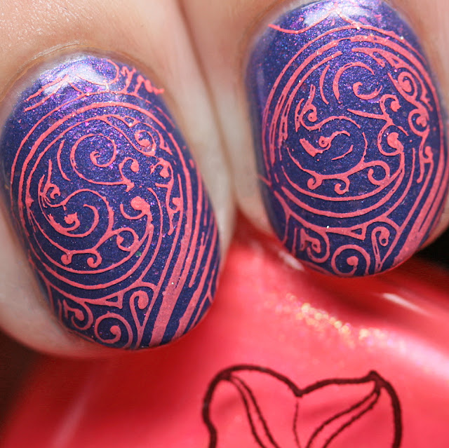 Moonflower Polish I Just Can't Wait stamped over Moonflower Polish Sweet Dreams using the Über Chic Girl Bits stamping plate