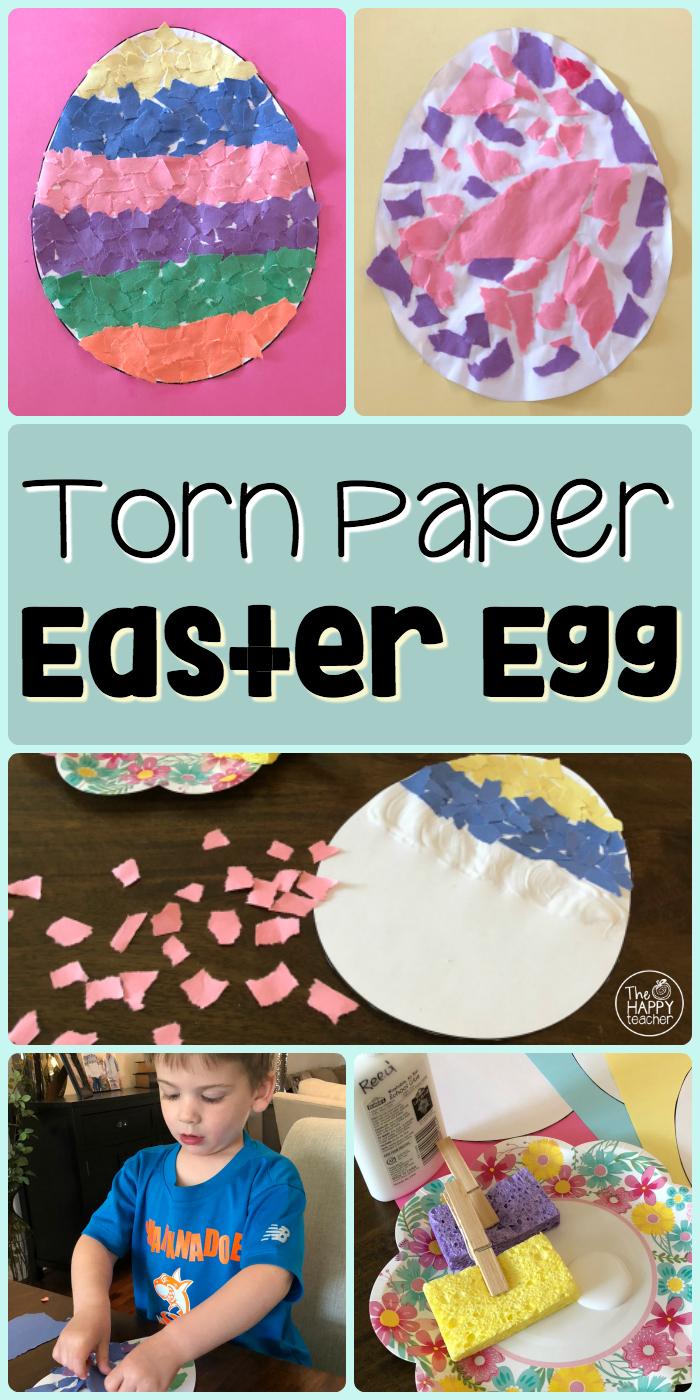 Elementary Classroom Games ~ Easter art paper torn egg craft