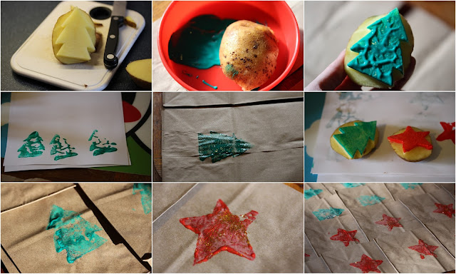 Series of images showing potato printing of brown paper bags: a tree cut into a potato, potato in paint, tree shapes, potato with paint on, bags with shapes on