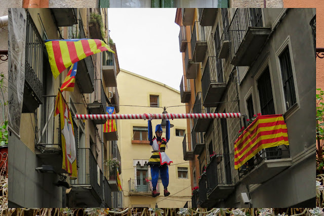Catalan flags and decorations in Girona, Costa Brava