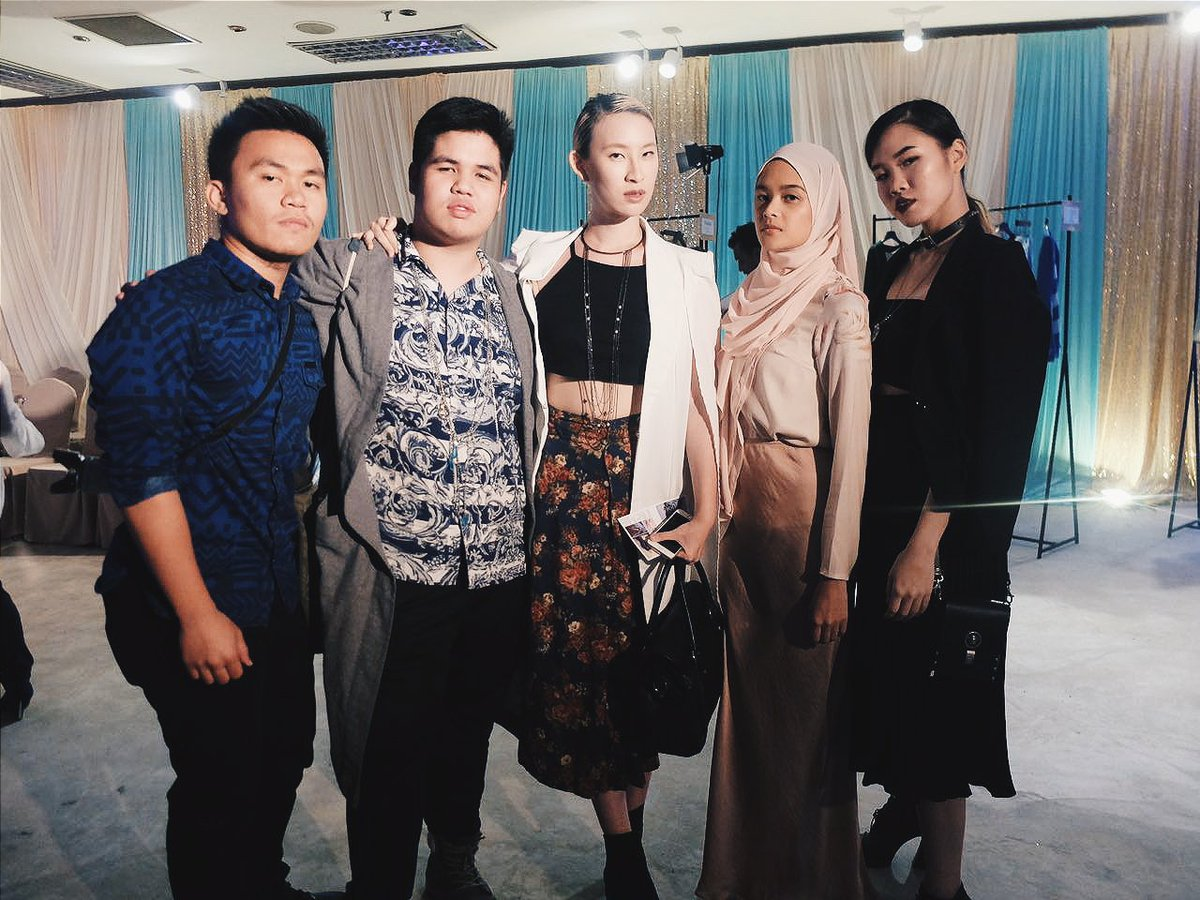 Brunei Blogger May Cho with the Haus von Jimmy R team at L'Orient's First Anniversary Runway | Awangku Hadi, Azim 'Jimmy' Rosli, Phoebe Chok and Siddiqah Rosli