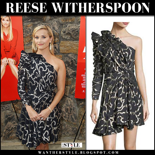 Reese Witherspoon in black one shoulder silver pattern dress Isabel Marant Clary home again screening august 2017