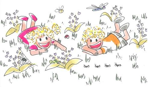 Los niños Tina y Leo se divierten en el jardín observando a las hormigas