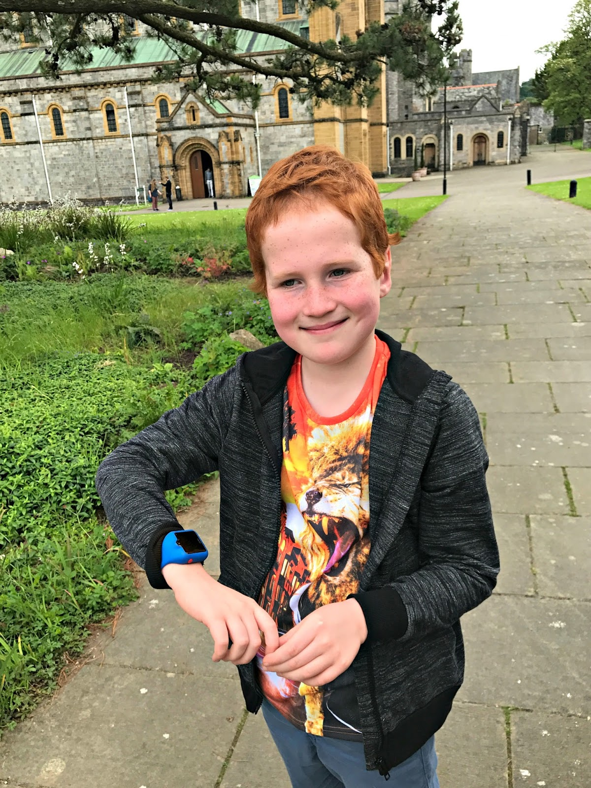 Ieuan at Buckfast Abbey, Devon, wearing the dokiWatch