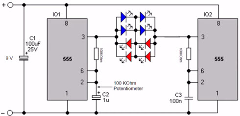 Police car light Flasher Circuit Diagram