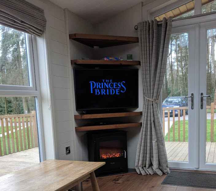 A Review of Darwin Forest & The Peak District with Tweens  - skyline view lodge in the meadows - fire in lounge
