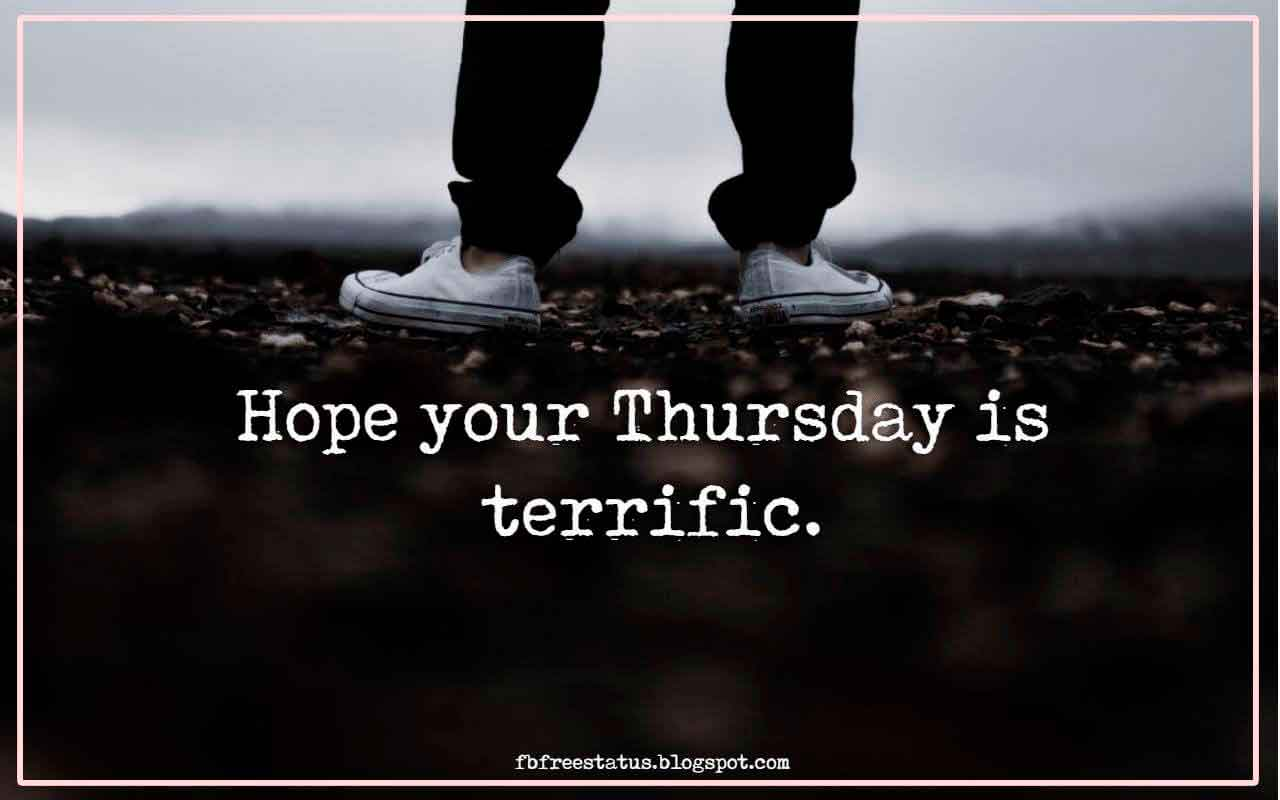 Hope your Thursday is terrific.