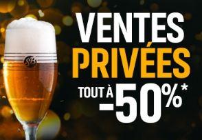 Ventes privées -50% sur les bouteilles, les fûts et la section brassage!