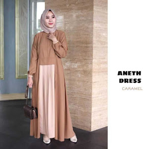 Gamis Dress Aneth Caramel