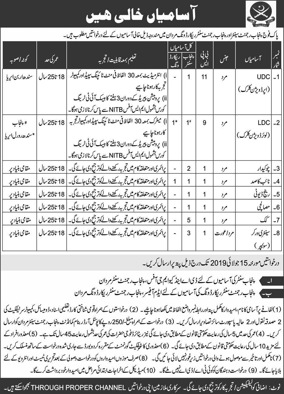 Pak Army Jobs 2019 Apply Now