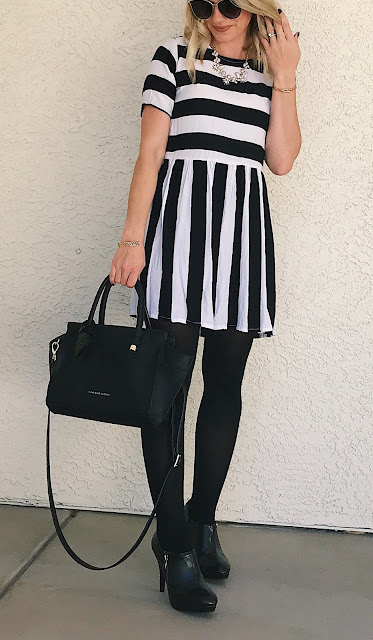 Thrifty Wife, Happy Life || Stripe dress with black tights and booties
