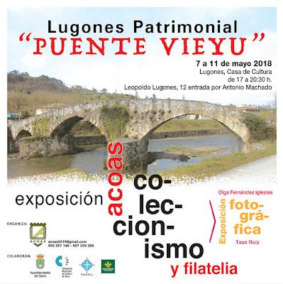 Cartel matasellos exposición Puente Viejo de Lugones