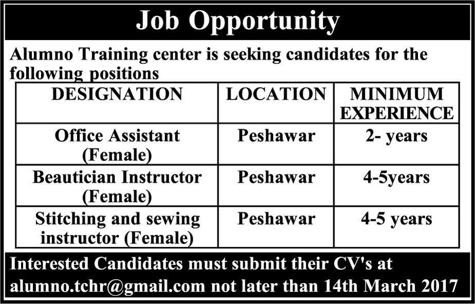 Alumno Training Center Peshawar Jobs