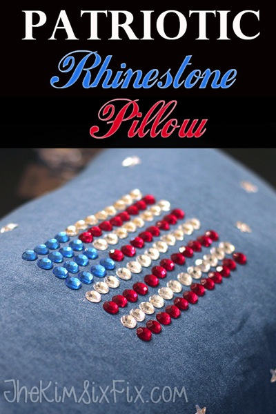 Create this sparkly patriotic pillow.  A perfect kids' craft using rhinestones and glue.  Make your own denim pillow cover or buy one.