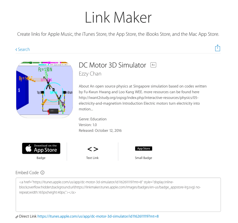 Create links for Apple Music, the iTunes Store, the App