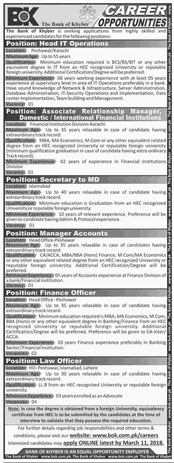 Jobs In The Bank Of Khyber  2018