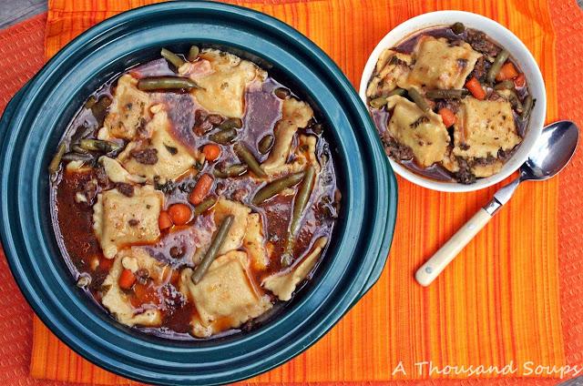 Slow Cooker Beef Ravioli Soup