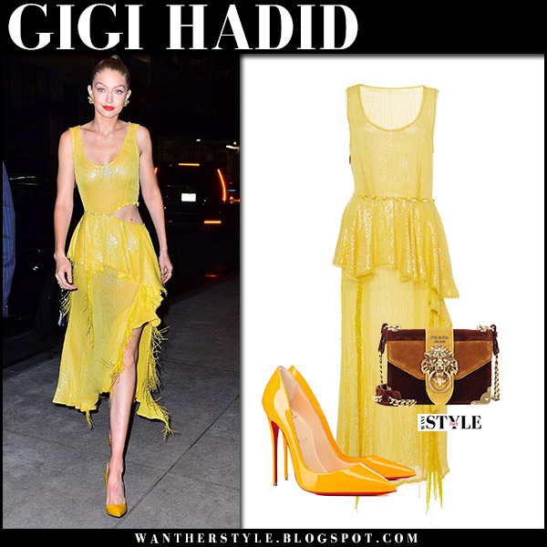 Gigi Hadid in yellow asymmetric dress and yellow pumps christian louboutin october 16 2017 red carpet style