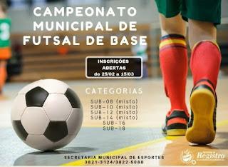 Abertas inscrições para os Campeonatos Municipais de Futsal de Base e Futebol Quarentão