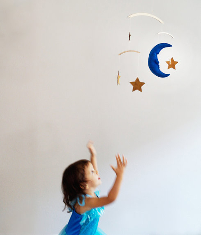 Moon and stars mobile for children's room