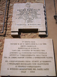 Plaques identify the house in Grazzano where Badoglio was born