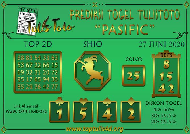 Prediksi Togel PASIFIC TULISTOTO 27 JUNI 2020