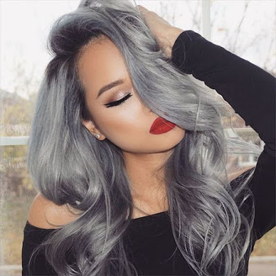 voluminous gray hair