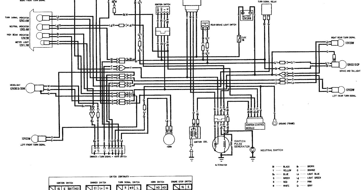 Wiring Diagram For Honda Sl100 93 Kawasaki KE 100 Wiring